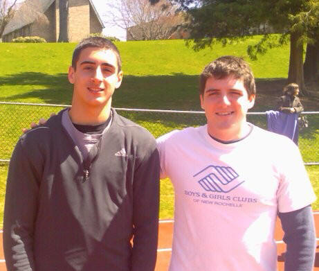 Brian Doherty '06 (r.), former Prep 400m record holder (49.1), on hand to congratulate the Prep's new quarter mile king